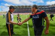14 July 2019; Kilkenny manager Brian Cody shakes hands with Cork manager John Meyler following the GAA Hurling All-Ireland Senior Championship quarter-final match between Kilkenny and Cork at Croke Park in Dublin. Photo by Ramsey Cardy/Sportsfile