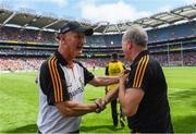 14 July 2019; Kilkenny manager Brian Cody shakes hands with selector Michael Dempsey following the GAA Hurling All-Ireland Senior Championship quarter-final match between Kilkenny and Cork at Croke Park in Dublin. Photo by Ramsey Cardy/Sportsfile
