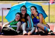 14 July 2019; Aoife O'Sullivan, left, from Liscarroll A.C. Co Cork who won the Girls U17 High Jump with third place Roisin Kellegher, centre, from Annalee A.C. Co Cavan and second place Eve Leacy from Roundwood & District A.C. Co Wicklow during day three of the Irish Life Health National Juvenile Track & Field Championships at Tullamore Harriers Stadium in Tullamore, Co. Offaly. Photo by Matt Browne/Sportsfile