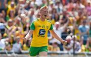 14 July 2019; Oisín Gallen of Donegal celebrates after scoring his side's second goal past Andrew Colgan of Meath during the GAA Football All-Ireland Senior Championship Quarter-Final Group 1 Phase 1 match between Donegal and Meath at MacCumhaill Park in Ballybofey, Donegal. Photo by Daire Brennan/Sportsfile