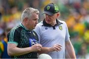 14 July 2019; Donegal manager Declan Bonner speaks to selector Stephen Rochford ahead of the GAA Football All-Ireland Senior Championship Quarter-Final Group 1 Phase 1 match between Donegal and Meath at MacCumhaill Park in Ballybofey, Donegal. Photo by Daire Brennan/Sportsfile