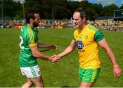 14 July 2019; Michael Murphy of Donegal shakes hands with Graham Reilly of Meath after during the GAA Football All-Ireland Senior Championship Quarter-Final Group 1 Phase 1 match between Donegal and Meath at MacCumhaill Park in Ballybofey, Donegal. Photo by Daire Brennan/Sportsfile