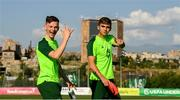 14 July 2019; Andy Lyons and Oisin McEntee arrive for a Republic of Ireland training session ahead of thier side's opening game of the 2019 UEFA European U19 Championships at the FFA Technical Centre in Yerevan, Armenia. Photo by Stephen McCarthy/Sportsfile