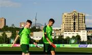14 July 2019; Andy Lyons and Oisin McEntee arrive for a Republic of Ireland training session ahead of their side's opening game of the 2019 UEFA European U19 Championships at the FFA Technical Centre in Yerevan, Armenia. Photo by Stephen McCarthy/Sportsfile