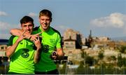 14 July 2019; Jack James and Mark McGuinness, right, arrive for a Republic of Ireland training session ahead of thier side's opening game of the 2019 UEFA European U19 Championships at the FFA Technical Centre in Yerevan, Armenia. Photo by Stephen McCarthy/Sportsfile