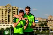 14 July 2019; Jack James and Mark McGuinness, right, arrive for a Republic of Ireland training session ahead of their side's opening game of the 2019 UEFA European U19 Championships at the FFA Technical Centre in Yerevan, Armenia. Photo by Stephen McCarthy/Sportsfile