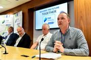 14 July 2019; Shamrock Rovers FC Chairman Jonathan Roche, right, speaking at a press conference during Day 2 of the National League Strategic Planning weekend at at FAI Headquarters in Abbotstown, Dublin. Photo by Sam Barnes/Sportsfile