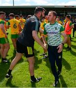 14 July 2019; Meath manager Andy McEntee shakes hands with his former Ballyboden St Enda's goalkeeper Paul Durcan of Donegal after the GAA Football All-Ireland Senior Championship Quarter-Final Group 1 Phase 1 match between Donegal and Meath at MacCumhaill Park in Ballybofey, Donegal. Photo by Daire Brennan/Sportsfile