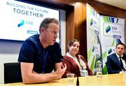 14 July 2019; PFAI General Secretary Stephen McGuinness speaking at a press conference during Day 2 of the National League Strategic Planning weekend at at FAI Headquarters in Abbotstown, Dublin. Photo by Sam Barnes/Sportsfile