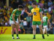 14 July 2019; Jamie Brennan of Donegal shakes hands with Séamus Lavin of Meath after the GAA Football All-Ireland Senior Championship Quarter-Final Group 1 Phase 1 match between Donegal and Meath at MacCumhaill Park in Ballybofey, Donegal. Photo by Daire Brennan/Sportsfile