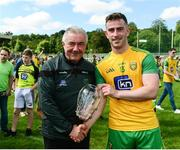 14 July 2019; Donegal county board chairman Mick McGrath makes a presentation to Patrick McBrearty of Donegal to mark his 100th appearance for Donegal after the GAA Football All-Ireland Senior Championship Quarter-Final Group 1 Phase 1 match between Donegal and Meath at MacCumhaill Park in Ballybofey, Donegal. Photo by Daire Brennan/Sportsfile