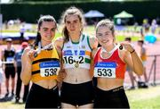 14 July 2019; Ruby Millet, 1642, from St. Abbans A.C. Co Laois who won the Girls U19 Long Jump with second plasce Aisling Cassidy, left, from Leevale A.C. Co Cork and third place Niamh O'Neill from St. Colmans South Mayo A.C. during day three of the Irish Life Health National Juvenile Track & Field Championships at Tullamore Harriers Stadium in Tullamore, Co. Offaly.   Photo by Matt Browne/Sportsfile