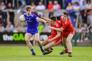 14 July 2019; Karl Gallagher of Monaghan in action against Micheál McCann, centre, and Conor Cuddy of Tyrone during the Electric Ireland Ulster GAA Football Minor Championship Final match between Monaghan and Tyrone at Athletic Grounds in Armagh. Photo by Piaras Ó Mídheach/Sportsfile
