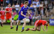 14 July 2019; Karl Gallagher of Monaghan gets past Micheál McCann of Tyrone during the Electric Ireland Ulster GAA Football Minor Championship Final match between Monaghan and Tyrone at Athletic Grounds in Armagh. Photo by Piaras Ó Mídheach/Sportsfile