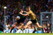 14 July 2019; Aidan O'Shea of Mayo is tackled by Gavin Crowley of Kerry during the GAA Football All-Ireland Senior Championship Quarter-Final Group 1 Phase 1 match between Kerry and Mayo at Fitzgerald Stadium in Killarney, Kerry. Photo by Eóin Noonan/Sportsfile