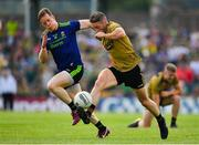 14 July 2019; Stephen O'Brien of Kerry in action against Donal Vaughan of Mayo during the GAA Football All-Ireland Senior Championship Quarter-Final Group 1 Phase 1 match between Kerry and Mayo at Fitzgerald Stadium in Killarney, Kerry. Photo by Brendan Moran/Sportsfile