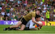 14 July 2019; David Clarke of Mayo in action against Sean O'Shea of Kerry during the GAA Football All-Ireland Senior Championship Quarter-Final Group 1 Phase 1 match between Kerry and Mayo at Fitzgerald Stadium in Killarney, Kerry. Photo by Brendan Moran/Sportsfile