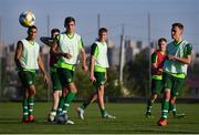 14 July 2019; Lee O'Connor, right, has a shot on goal during a Republic of Ireland training session ahead of their opening game of the 2019 UEFA European U19 Championships at the FFA Technical Centre in Yerevan, Armenia. Photo by Stephen McCarthy/Sportsfile
