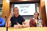 14 July 2019; PFAI General Secretary Stephen McGuinness, left, speaking at a press conference during Day 2 of the National League Strategic Planning weekend at at FAI Headquarters in Abbotstown, Dublin. Photo by Sam Barnes/Sportsfile