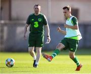 14 July 2019; Lee O'Connor and head coach Tom Mohan during a Republic of Ireland training session ahead of their opening game of the 2019 UEFA European U19 Championships at the FFA Technical Centre in Yerevan, Armenia. Photo by Stephen McCarthy/Sportsfile
