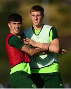 14 July 2019; Barry Coffey and Mark McGuinness, right, compete for space during a Republic of Ireland training session ahead of their opening game of the 2019 UEFA European U19 Championships at the FFA Technical Centre in Yerevan, Armenia. Photo by Stephen McCarthy/Sportsfile