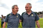 14 July 2019; Kerry manager Peter Keane, left, with selector James Foley following the GAA Football All-Ireland Senior Championship Quarter-Final Group 1 Phase 1 match between Kerry and Mayo at Fitzgerald Stadium in Killarney, Kerry. Photo by Eóin Noonan/Sportsfile