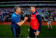 14 July 2019; Tipperary manager Liam Sheedy, left, shakes hands with Laois manager Eddie Brennan following the GAA Hurling All-Ireland Senior Championship quarter-final match between Tipperary and Laois at Croke Park in Dublin. Photo by Ramsey Cardy/Sportsfile