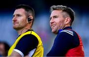 14 July 2019; Laois manager Eddie Brennan, right, and selector Niall Corcoran during the GAA Hurling All-Ireland Senior Championship quarter-final match between Tipperary and Laois at Croke Park in Dublin. Photo by Ramsey Cardy/Sportsfile