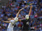 14 July 2019; Stephen Bergin of Laois and Brendan Maher of Tipperary reach for the sliothar during the GAA Hurling All-Ireland Senior Championship quarter-final match between Tipperary and Laois at Croke Park in Dublin. Photo by Ray McManus/Sportsfile