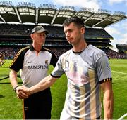 14 July 2019; Seamus Harnedy of Cork with Kilkenny manager Brian Cody after the GAA Hurling All-Ireland Senior Championship quarter-final match between Kilkenny and Cork at Croke Park in Dublin. Photo by Ray McManus/Sportsfile
