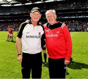 14 July 2019; Kilkenny manager Brian Cody and Dr Con Murphy of Cork after the GAA Hurling All-Ireland Senior Championship quarter-final match between Kilkenny and Cork at Croke Park in Dublin. Photo by Ray McManus/Sportsfile