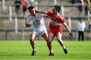 14 July 2019; Darragh Canavan of Tyrone in action against Conor McCluskey of Derry during the EirGrid Ulster GAA Football U20 Championship Final match between Derry and Tyrone at Athletic Grounds in Armagh. Photo by Piaras Ó Mídheach/Sportsfile