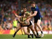 14 July 2019; Sean O'Shea of Kerry is tackled by Chris Barrett, left, and Lee Keegan during the GAA Football All-Ireland Senior Championship Quarter-Final Group 1 Phase 1 match between Kerry and Mayo at Fitzgerald Stadium in Killarney, Kerry. Photo by Eóin Noonan/Sportsfile