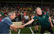 14 July 2019; Kerry manager Peter Keane and Mayo manager James Horan following the GAA Football All-Ireland Senior Championship Quarter-Final Group 1 Phase 1 match between Kerry and Mayo at Fitzgerald Stadium in Killarney, Kerry. Photo by Eóin Noonan/Sportsfile