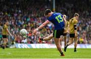 14 July 2019; Cillian O'Connor of Mayo kicks a point to make him the leading scorer in Championship history during the GAA Football All-Ireland Senior Championship Quarter-Final Group 1 Phase 1 match between Kerry and Mayo at Fitzgerald Stadium in Killarney, Kerry. Photo by Brendan Moran/Sportsfile