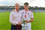 14 July 2019; Darragh Canavan of Tyrone with his father Peter after the EirGrid Ulster GAA Football U20 Championship Final match between Derry and Tyrone at Athletic Grounds in Armagh. Photo by Piaras Ó Mídheach/Sportsfile