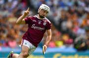 14 July 2019; Sean McDonagh of Galway celebrates scoring the third goal, in the 50th minute, during the Electric Ireland GAA Hurling All-Ireland Minor Championship quarter-final match between Kilkenny and Galway at Croke Park in Dublin. Photo by Ray McManus/Sportsfile