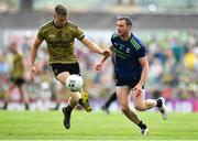 14 July 2019; Gavin Crowley of Kerry in action against Keith Higgins of Mayo during the GAA Football All-Ireland Senior Championship Quarter-Final Group 1 Phase 1 match between Kerry and Mayo at Fitzgerald Stadium in Killarney, Kerry. Photo by Brendan Moran/Sportsfile