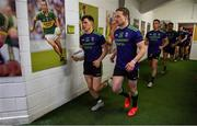 14 July 2019; Fergal Boland and Andy Moran of Mayo run out of the dressingroom prior to the GAA Football All-Ireland Senior Championship Quarter-Final Group 1 Phase 1 match between Kerry and Mayo at Fitzgerald Stadium in Killarney, Kerry. Photo by Brendan Moran/Sportsfile