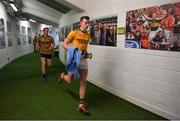 14 July 2019; Shane Ryan of Kerry runs out of the dressing room prior to the GAA Football All-Ireland Senior Championship Quarter-Final Group 1 Phase 1 match between Kerry and Mayo at Fitzgerald Stadium in Killarney, Kerry. Photo by Brendan Moran/Sportsfile