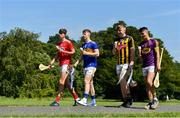 15 July 2019; In attendance at the Bord Gáis Energy GAA Hurling U-20 Provincial Championship Finals preview are, from left, Robert Downey of Cork,  Jake Morris of Tipperary, Evan Shefflin of Kilkenny and Eoin O'Leary of Wexford at Saint Annes Park in Dublin. Wexford will take on Kilkenny in the Leinster decider on Wednesday night at 7.30pm at Innovate Wexford Park while on July 23rd, Tipperary face Cork at Semple Stadium in the Munster decider. Throw-in there is 7.30pm. Photo by Sam Barnes/Sportsfile