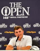 15 July 2019; James Sugrue of Ireland during a press conference ahead of the 148th Open Championship at Royal Portrush in Portrush, Co. Antrim. Photo by Ramsey Cardy/Sportsfile