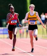 14 July 2019; Victoria Amiadamen from Dooneen A.C. Co Limerick who won the Girls U15 200m from second place Ella Jenks from Leevale A.C. Co Cork during day three of the Irish Life Health National Juvenile Track & Field Championships at Tullamore Harriers Stadium in Tullamore, Co. Offaly. Photo by Matt Browne/Sportsfile