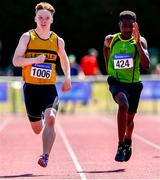 14 July 2019; John Cashman from Leevale A.C. Co Cork who won the boys Boys U14 200m from second place Marcus Adekoya from Rathfarnham W.S.A.F. A.C. during day three of the Irish Life Health National Juvenile Track & Field Championships at Tullamore Harriers Stadium in Tullamore, Co. Offaly. Photo by Matt Browne/Sportsfile