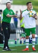 15 July 2019; Republic of Ireland head coach Tom Mohan and Lee O'Connor during the 2019 UEFA European U19 Championships group B match between Norway and Republic of Ireland at FFA Academy Stadium in Yerevan, Armenia. Photo by Stephen McCarthy/Sportsfile
