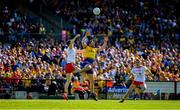 13 July 2019; Diarmuid Murtagh of Roscommon in action against Rory Brennan of Tyrone during the GAA Football All-Ireland Senior Championship Quarter-Final Group 2 Phase 1 match between Roscommon and Tyrone at Dr Hyde Park in Roscommon. Photo by Brendan Moran/Sportsfile
