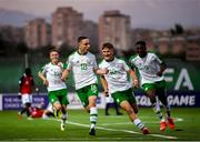 15 July 2019; Joe Hodge, 18, celebrates with his Republic of Ireland team-mates Brandon Kavanagh, left, Matt Everitt, 10, and Jonathan Afolabi after scoring his side's first goal during the 2019 UEFA European U19 Championships group B match between Norway and Republic of Ireland at FFA Academy Stadium in Yerevan, Armenia. Photo by Stephen McCarthy/Sportsfile