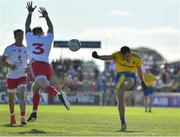 13 July 2019; Donie Smith of Roscommon in action against Ronan McNamee of Tyrone during the GAA Football All-Ireland Senior Championship Quarter-Final Group 2 Phase 1 match between Roscommon and Tyrone at Dr Hyde Park in Roscommon. Photo by Brendan Moran/Sportsfile