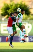 15 July 2019; Ali Reghba, right, and Lee O'Connor of Republic of Ireland in action against Markus Solbakken of Norway during the 2019 UEFA European U19 Championships group B match between Norway and Republic of Ireland at FFA Academy Stadium in Yerevan, Armenia. Photo by Stephen McCarthy/Sportsfile