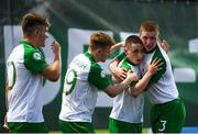 15 July 2019; Joe Hodge, second form right, is congratulated by his Republic of Ireland team-mates, from left, Matt Everitt, Brandon Kavanagh and Kameron Ledwidge after scoring his side's goal during the 2019 UEFA European U19 Championships group B match between Norway and Republic of Ireland at FFA Academy Stadium in Yerevan, Armenia. Photo by Stephen McCarthy/Sportsfile